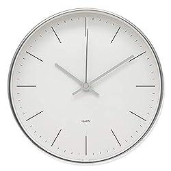 COMODO CASA Wall Clock- Metal Silver Frame-Glass Cover-Non Ticking-Quartz Sweep-Silent 7.6 inch Retro Clock,White