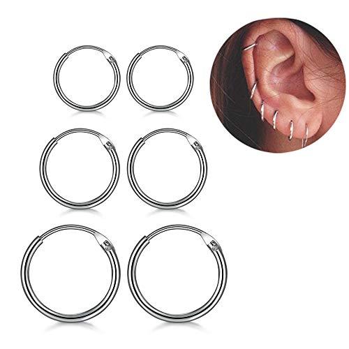 DreamSter Cubic Zirconia Hoop Earrings for Women Teen Girls Small Earrings Plated 18K White Gold CZ Stud Earrings Set 2 Pairs