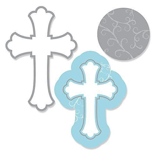 Boy First Communion Cut Out - Big Dot of Happiness Little Miracle Boy Blue & Gray Cross - Baptism DIY Shaped Party Cut-Outs - 24 Count