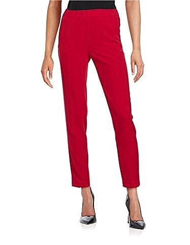 Calvin Klein Womens Petites Crepe Straight Leg Dress Pants Red 4P (Petite Office Pants)