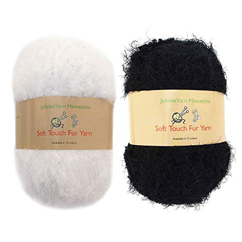 Fancy Fur Yarn Scarves - JubileeYarn 100g Soft Touch Fuzzy Fur Yarn Packs, Black and White, 2 Skeins