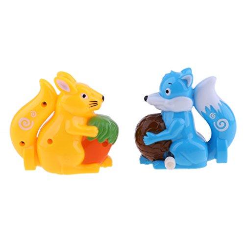 (SM SunniMix 2x Wind Up Squirrel Animal Model Classic Educational Clockwork Toys Plastic Xmas Gift)