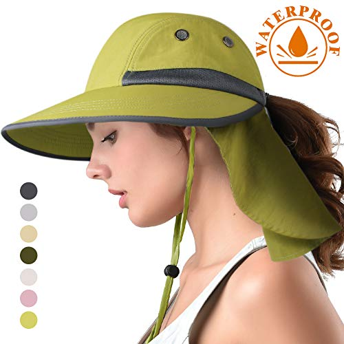 (camptrace Safari Sun Hat Wide Brim Fishing Hat with Neck Flap for Women Ponytail Packable UPS UPF 50+ for Hiking Hunting Camping (B Green, One Size))