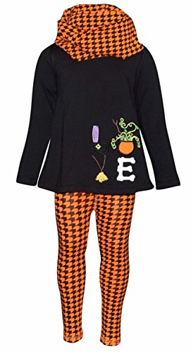 Unique Baby Girls 3 Piece Halloween Houndstooth Legging Set (7) (Black And Orange Outfit For Halloween)