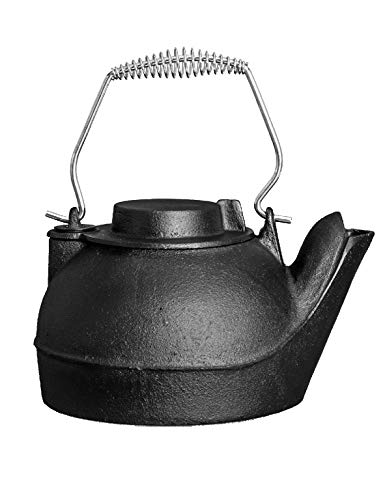 Fire Beauty Humidifying Iron Kettle,Stove Humidifier,Wood Stove Kettle,Cast Iron,Chrome handle,Matte Black (Stove Steamers And Wood Kettles)