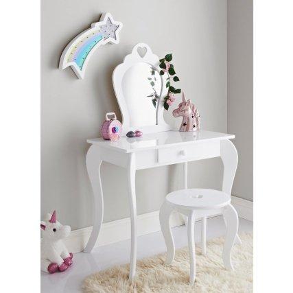 online store 0c211 bce94 Elegant White Vanity Set with Stool & Mirror Dressing Table ...