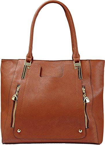 Arcadia Plain Jane Tote Handbag with Hardware Dual Front Zipper JZ6126-BN