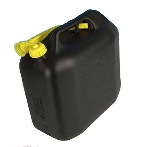 NEW 20 20L Litre Black Fuel Canister Plastic Lawn Mower Jerry Can Flexible Spout Wheels N Bits
