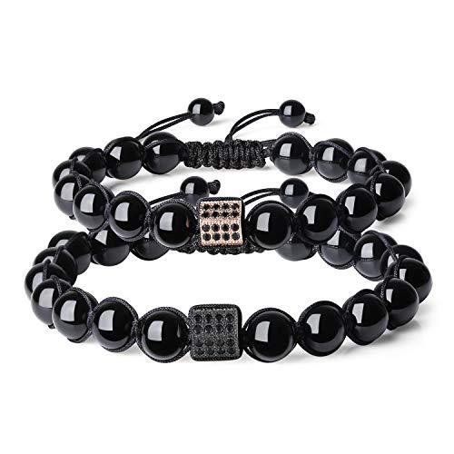 COAI Adjustable Rhinestone Pave Charm Tourmaline Stones Cute Couples Bracelets