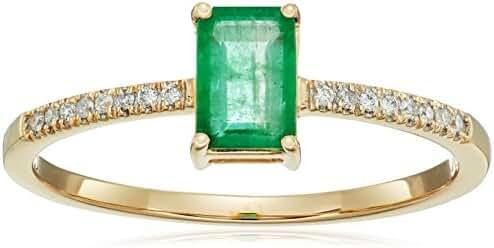 0.54 Carat Genuine Emerald & White Diamond 14K Yellow Gold Ring