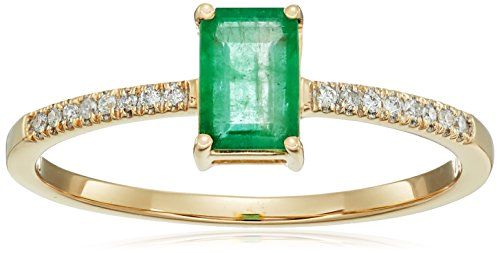 0.54 Carat Genuine Emerald & White Diamond 14K Yellow Gold Ring - Gold Genuine Emerald Ring