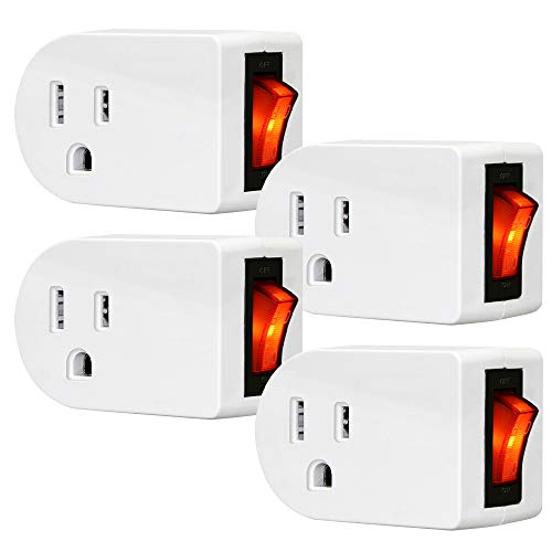 Grounded Outlet Adapter, ANKO ETL Listed Wall Tap Adapter with Red Indicator On/Off Power Switch (4 PACK)