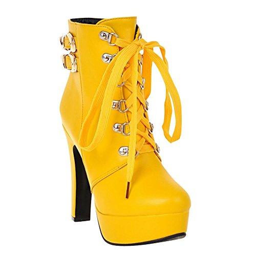 Up Multi Heel Buckle Yellow Sexy Carolbar High Lace Boots Short Womens Platform 6xnOqE4w