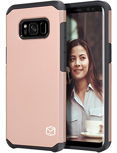 Galaxy S8 Active Case, MP-MALL [Dual Layer] [Shock Absorbent] Armor Hybrid Defender Anti-Drop Rugged Protective Shockproof Case Cover For Samsung Galaxy S8 Active (Rose Gold)