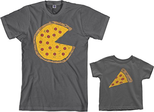 Pepperoni Pizza Slice - Threadrock Pizza Pie & Slice Toddler & Men's T-Shirt Matching Set (Toddler: 2T, Charcoal|Men's: M, Charcoal)