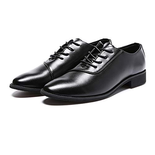 Ocasional de de clásica Puntiagudo Formales Moda Hombres Cuero Negro de los la Oxford Zapatos de Suave cordón del Pf0q5cCxwx