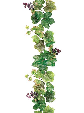 6' Grape Leaf Garland w/Grapes Green (Pack of 6) by Arcadia Silk Plantation