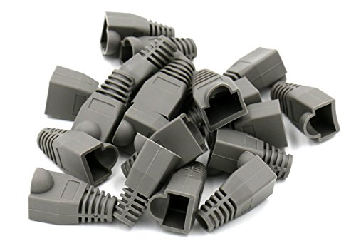 iexcell 100 Pcs Gray RJ45 Ethernet Network Cable Strain Relief Boots