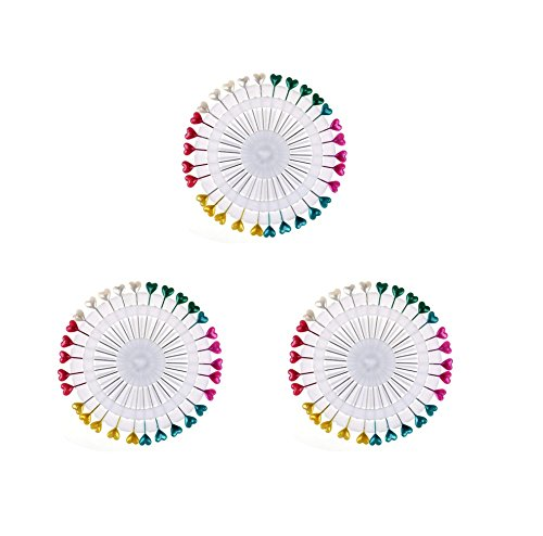 ins Plastic Headed Extra Long Craft Pins Wheel Dress Making Sewing Straight Pins (Heart) ()