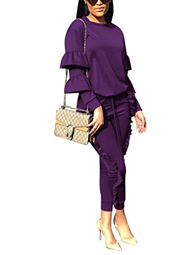 Women 2 Pieces Outfits Balloon Sleeve Top and Long Flounced Pants Sweatsuits Set Tracksuits Purple - Purple Tracksuit