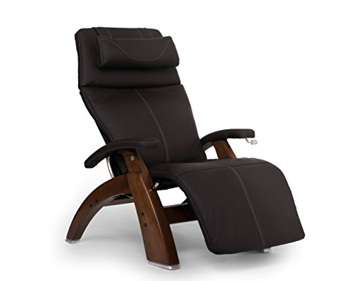Perfect Chair Human Touch PC-420 Classic Manual Plus with Jade Heat Walnut Wood Base Zero-Gravity Recliner - Espresso Top Grain Leather - in-Home White Glove Delivery