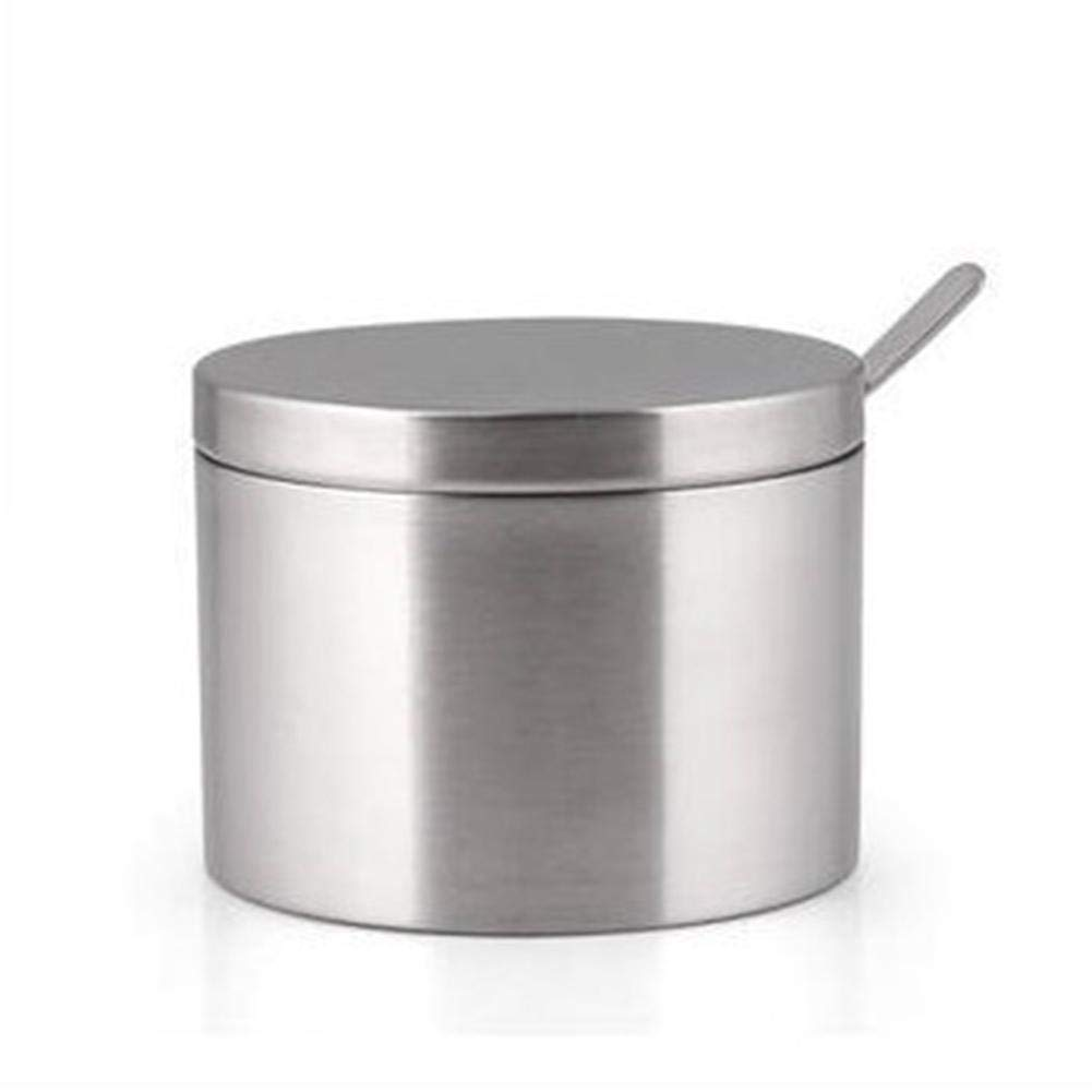IrahdBowen 304 Stainless Steel Sugar Bowl and Sugar SpoonSeasoning Containers Condiment Can for Kitchen Salt Pepper Storage Organization in style