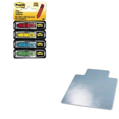 Studded Supermat Mat Beveled (KITDEFCM14233MMM684SH - Value Kit - Deflect-o SuperMat Studded Beveled Mat for Med Pile Carpet (DEFCM14233) and Post-it Arrow Message 1/2amp;quot; Flags (MMM684SH))