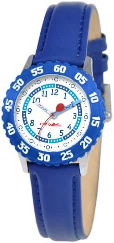 Red Balloon Kids' W000177 Blue Leather Strap Stainless Steel Time Teacher Watch