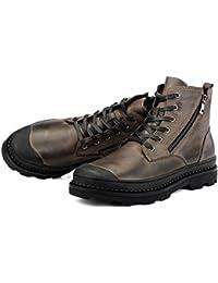 Color : Black, Size : 8.5 D US HONGkeke Mens Ankle Derby Boots Lace-up Outsole Patent PU Leather Side Zipper Dress Shoes Durable M