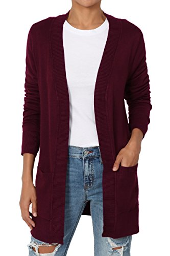 TheMogan Women's Open Front Pockets Knit Sweater Cardigan Burgundy S - Burgundy Cardigan Sweater