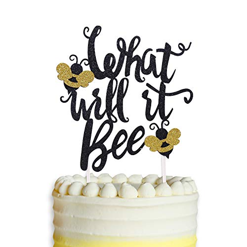 What Will It Bee Cake Topper, Bumble Bee Baby Shower Banner Gender Reveal Party Decorations