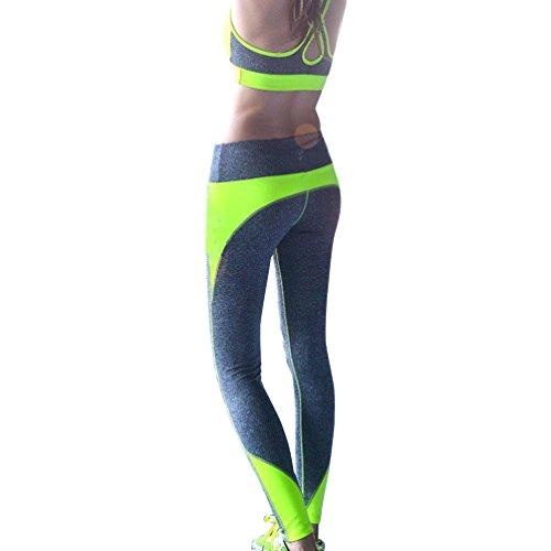 HARRYSTORE Mujer Pantalones elástico de yoga y fitness Mujer Pantalones deportivos cómodos mujer Polainas Legging Verde