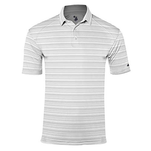 Jerseys Badger Solid Baseball (Badger Sport Silver/Graphite Adult XS Striped Collared Coach/Golf Polo)