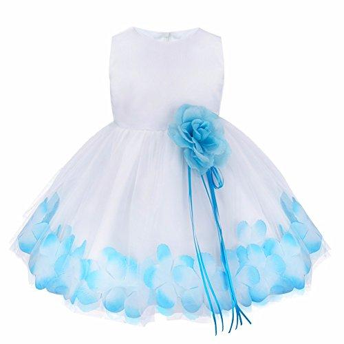 iiniim Baby Girls Petals Tulle Pageant Wedding Party Flower Girl Dress Blue 3-6 Months -