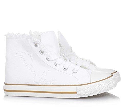 TWIN-SET - Sneaker à lacets blanche en tissu, originale et à la mode, avec fermeture éclair latérale, Fille, Filles, Femme, Femmes