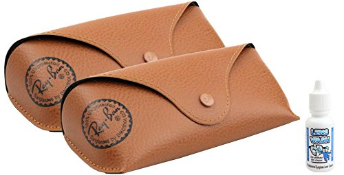 Ray Ban Sunglasses Brown Leather Like, Medium Case-2 pack, free Lens - Leather Sunglasses Ray Ban