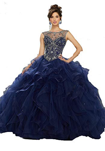 YongGao Women's Two Piece Quinceanera Dresses Applique Lace Ball Gown Prom Dresses 2 us Navy Blue
