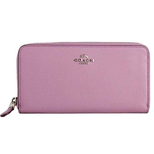 Coach F16612 BM 02 Pebbled Leather Accordion Zip Around Wallet (SV/Lilac) by Coach