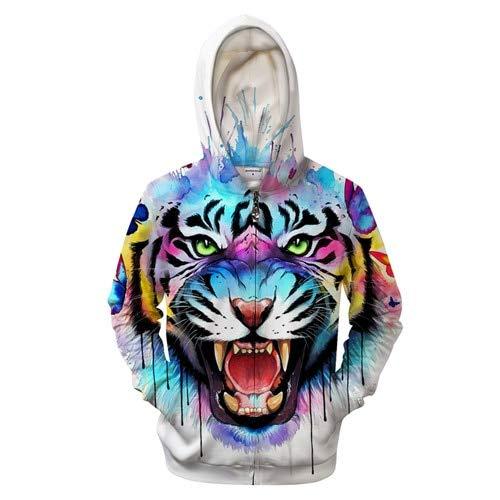 Ai Ya-weiyi 3D-Tiger Hoodie Men Zip Hoody Anime Sweatshirt Zipper Trainingsanzug Pullover Mantel Streatwear Unisex