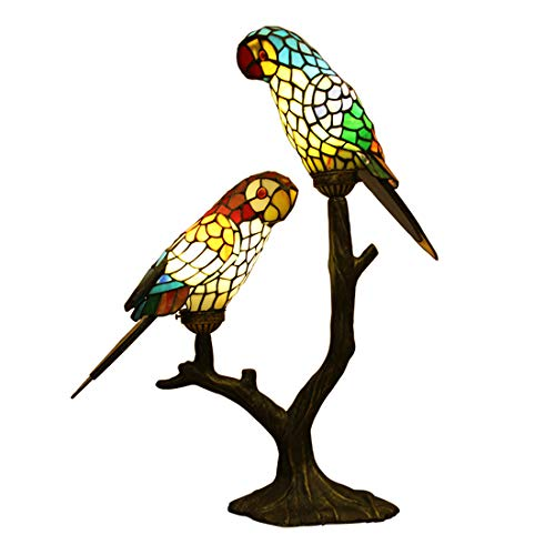 (Makenier Vintage Tiffany Style Stained Glass Double Parrots Big Table Lamp)