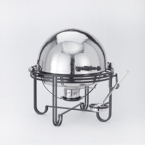 American Metalcraft Round Chafer - American Metalcraft MESA91H Hammered Stainless Steel Roll-Top Chafer, Round, 6-Quart