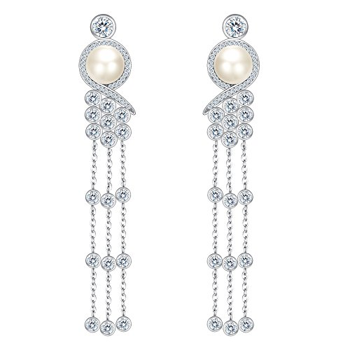 EleQueen 925 Sterling Silver CZ AAA Button Cream Freshwater Cultured Pearl Victorian Style Long Tassel Bridal Dangle Earrings ()
