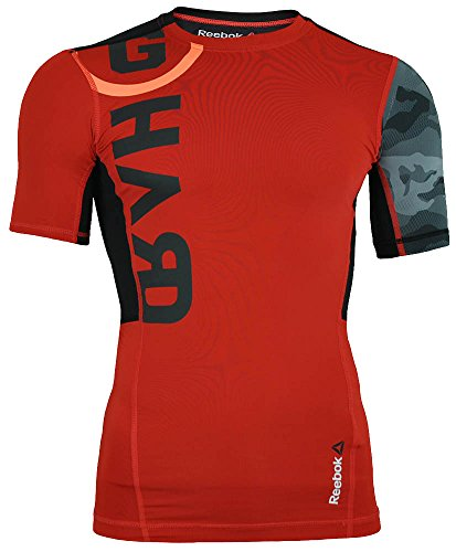Reebok OS PW3R SS Compression Top Tee CrossFit Mens SpeedWick T-Shirt Rot, Sizes:S