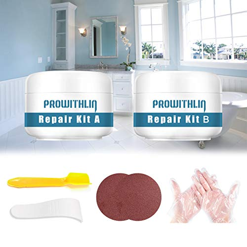 Tub, Tile and Shower Repair Kit, Porcelain Repair Kit Waterproof, Tub and Tile Refinishing kit, Fiberglass Repair Kit, Tile Repair Kit for Tubs, Toilet, Porcelain, Sink Crack (3.5oz White)