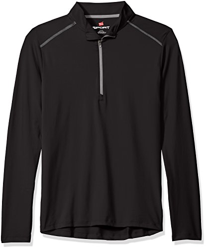 Hanes Men's Sport Performance Quarter-Zip Pullover, Black, 2XL