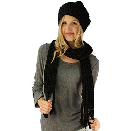 Handknit 2pc Winter Ribbed Knit Ski Beret Pom Pom Beanie Hat w Scarf Set ()