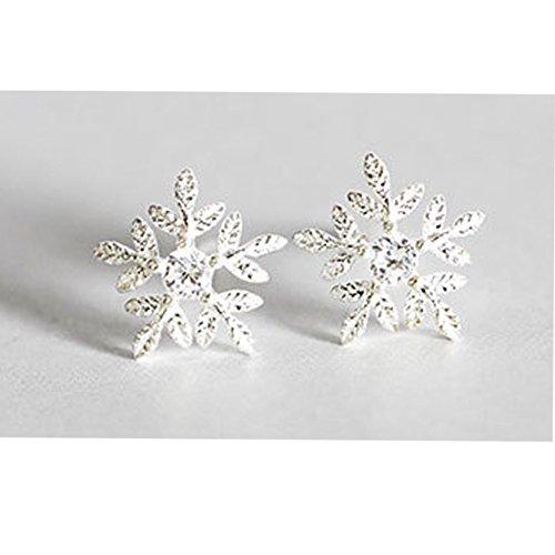 Pandora Style Fashion Earrings (Little elk/Snowflake/Antlers/Cat/Pearl/Whale Stud Earrings - Authentic 925 Sterling Silver Charm - European-Style Charm (1#Snowflake))