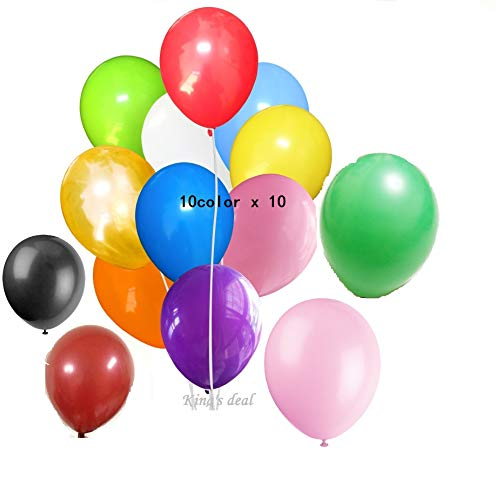 King's deal 100(10color x 10) Latex Balloons - 11 Inch - Assorted (Gift Bag Balloon Weight)
