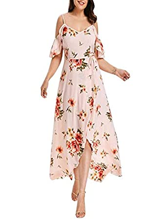 a8221c4951865 Kleider Damen,Plus Size V-Ausschnitt Partykleid Camisole Off Shoulder  Strandkleid Boho Stil A-Linie Slim Fit Dress Unregelmäßig Blume Drucken ...