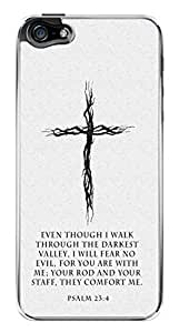 Religious Cross Bible Verse Psalm 23:4 Snap-On Cover Hard Plastic Case for iPhone 5/5S (Clear)